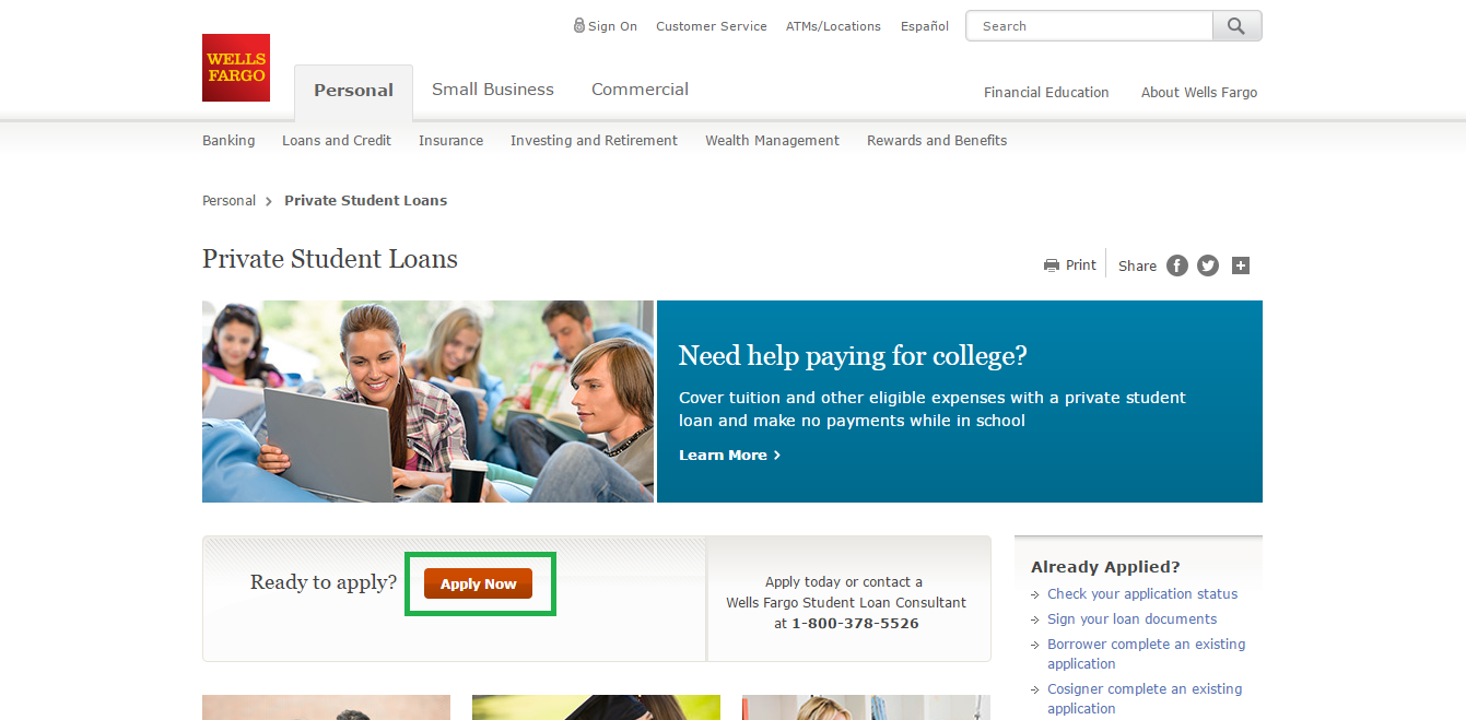 Wells fargo login student loan